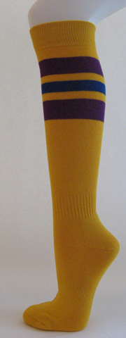 Golden yellow with purple and blue stripe knee high softball sock 3PAIRs