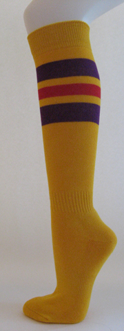 Golden yellow with purple and red stripe knee high softball socks 3PAIRs