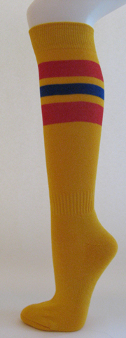 Golden yellow with red and blue stripe knee high softball socks[3 Pairs]
