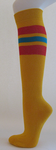 Golden yellow with red bright blue striped knee softball socks 3PAIRs