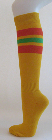 Golden yellow with red bright green stripes knee softball socks 3PAIRs