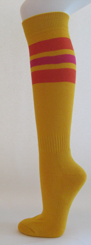 Golden yellow with Orange and hot pink stripe knee high socks 3PAIRs