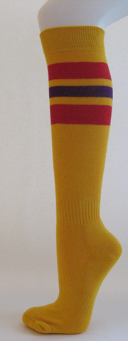 Golden yellow with red and purple stripe knee high softball sock 3 Pairs