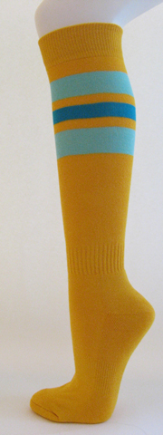 Golden yellow with sky blue and blue stripe knee high softball sock 3PRs