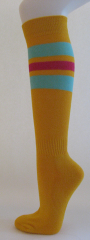 Golden yellow with light sky blue and bright pink striped knee 3PAIRs