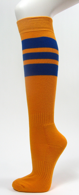 Golden yellow softball socks with 3 blue stripes 3PAIRs