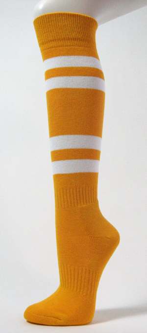 Gold Yellow with White Stripes Couver Sports/Softball Socks 3PRs