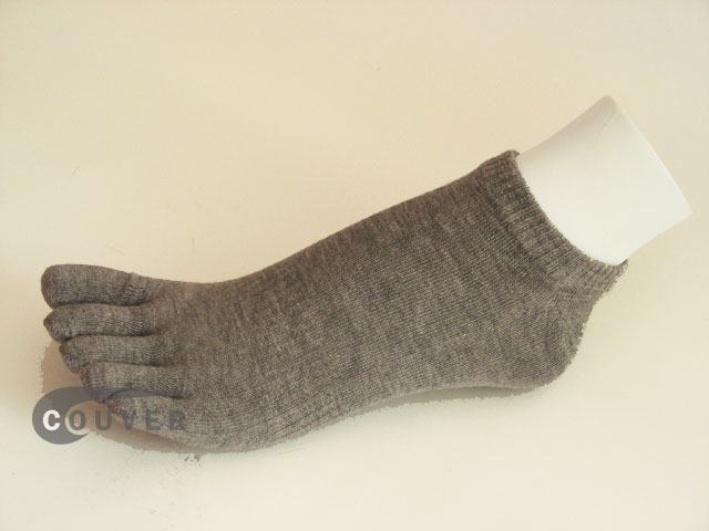 Gray/Grey no show 5Finger Toe Sock Wholesale from Couver, 6PAIRS
