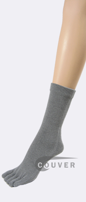 Gray (Grey) Couver 5Finger Toe Toe Socks Quarter Wholesale, 6PRS