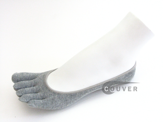 Gray(Grey) COUVER Super Low Cut 5Finger Toed Toe Socks Wholesale, 6PAIRs