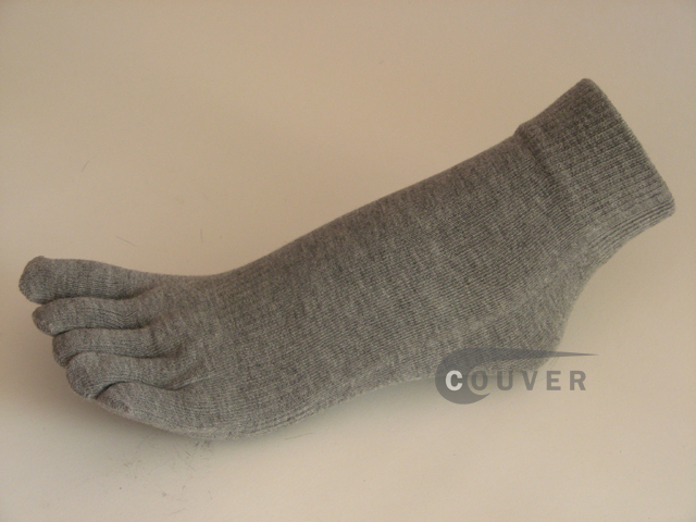 Gray/Grey COUVER 5finger Toed Ankle Toe Socks Wholesale, 6PRs