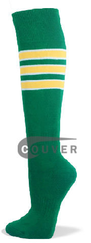 Green with White / Yellow Stripe Striped Knee Softball Sock 3PAIRs