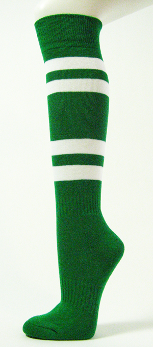 Green with White Stripes Couver Sport Knee Softball Socks 3PRs