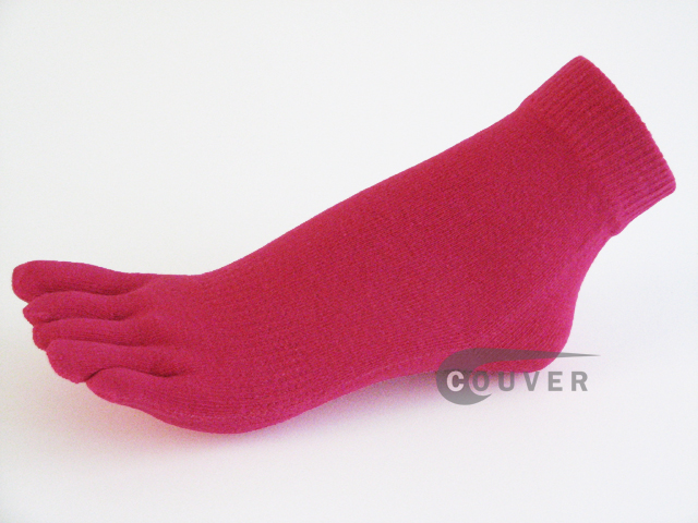 Hot Pink COUVER 5finger Toed Ankle Socks Wholesale, 6Pairs