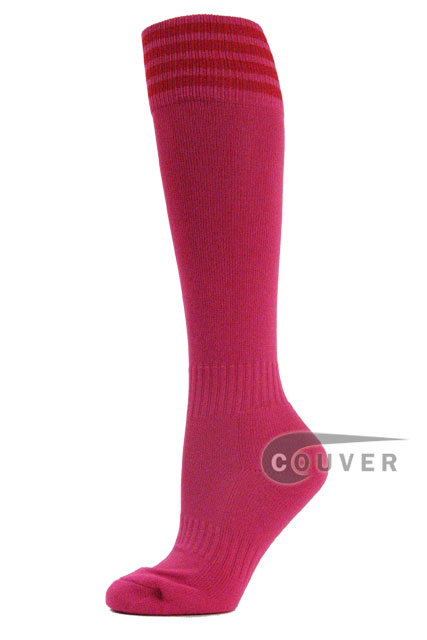 Hot Pink Red Stripe Youth Football/Sports High Socks, 3PAIRS