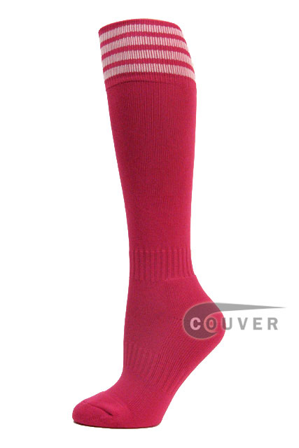 Hot Pink White Stripe Youth Football/Sports High Socks, 3PAIRS