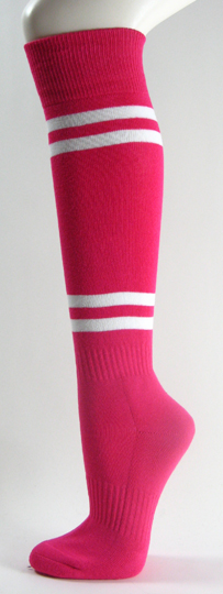 Hot Pink with White Stripes Couver Knee High Softball Socks 3PRs