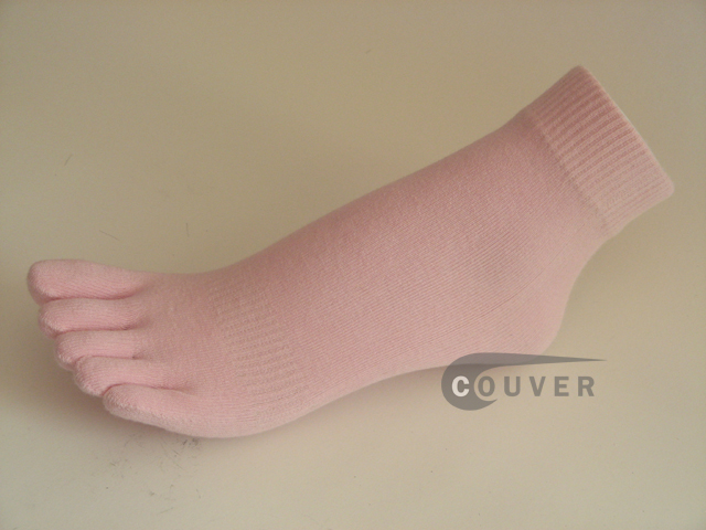 Light Pink COUVER 5finger Toed Ankle Toe Socks Wholesale, 6PRs