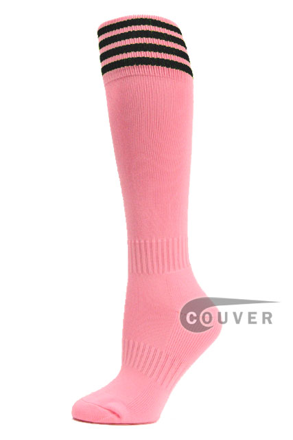 Light Pink Black Stripe Youth Football/Athletic High Socks, 3PAIRS