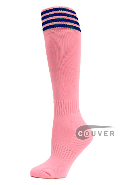 Light Pink Blue Stripe Youth Football /Athletic Socks, 3PAIRS