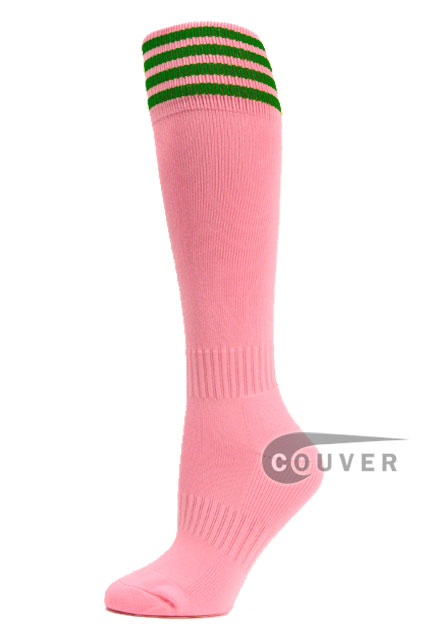 Light Pink Green Stripe Youth Football High Socks, 3PAIRS