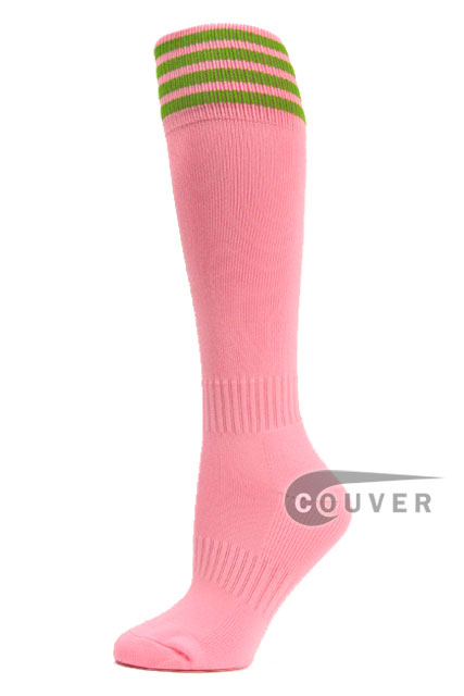 Light Pink Lime Green Stripe Youth Football High Socks, 3PAIRS