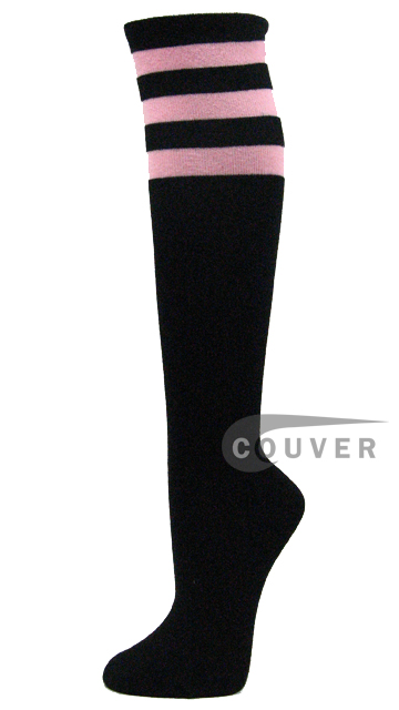 Light Pink Stripe on Black COUVER Cotton Non Athletic Knee Hi Socks 6PRs