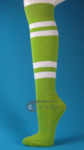 Lime Green w/ White Stripe Couver Sport Knee Softball Socks 3PRs