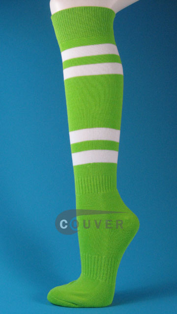 Bright Lime Green White Striped Softball/Sports Knee Socks, 3PRS