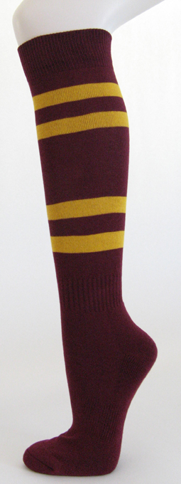 Buy Manufacturer Coupons >> Maroon with golden yellow stripes COUVER Sports Knee Socks ...