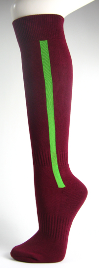 Maroon baseball softball socks with bright green stripe