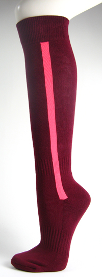 Maroon baseball softball socks with bright pink stripe