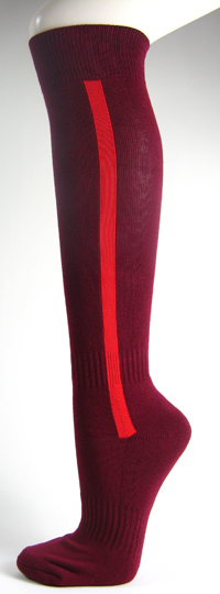 Maroon baseball softball socks with red stripe
