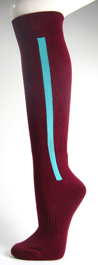 Maroon baseball softball socks with sky blue stripe