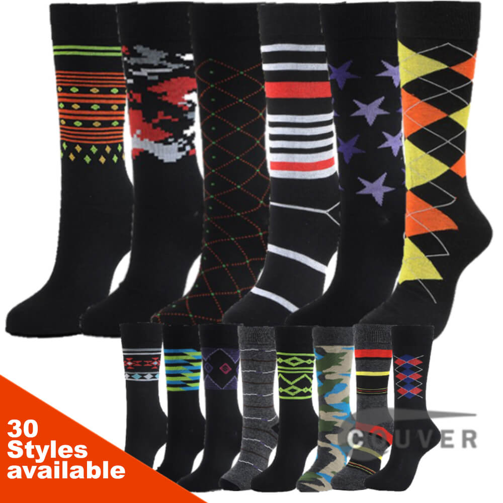 Mens Cotton Designer Dress Socks Styles Pattern 6 Pairs Bundle