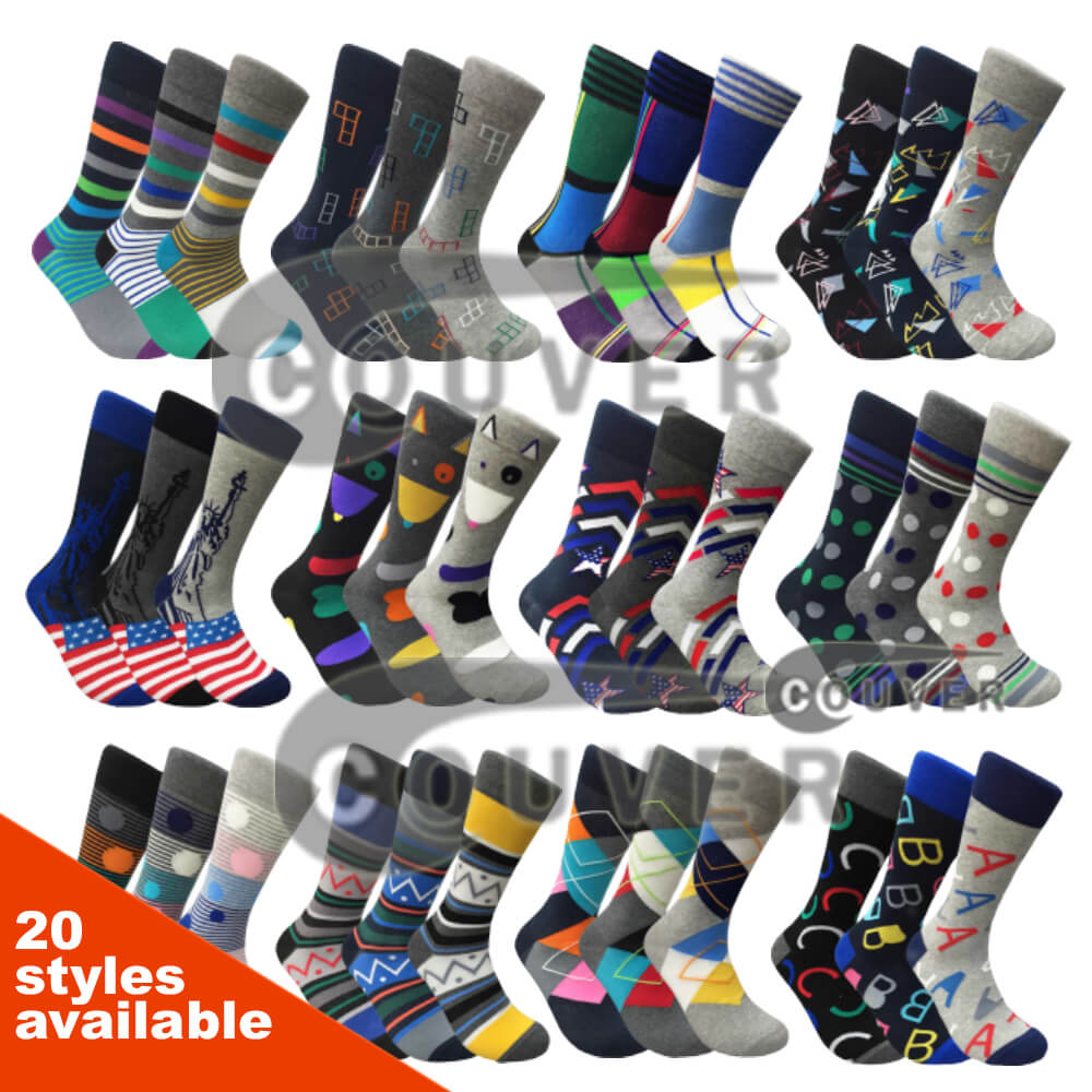 Mens Funny Colorful Novelty Crew Casual Patterned Socks 3 Pairs Bundle