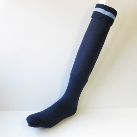Men's Navy Soccer Socks with Light Blue Stripe Knee High [3Pairs]