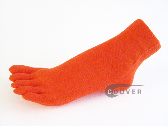 Orange COUVER 5finger Toed Ankle Socks Wholesale, 6Pairs