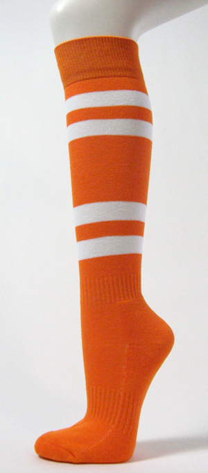 Light Orange w White Stripe Couver Sport Knee Softball Sock 3PRs