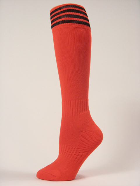 Dark Orange with black stripe youth athletic/football high socks