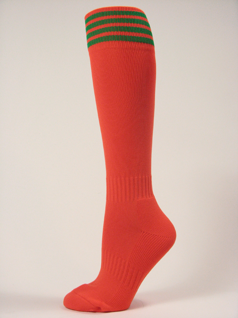 Dark Orange with green stripe youth football/athletic high socks