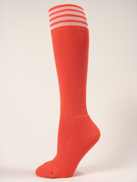 Dark Orange with white stripe youth football/sports high socks