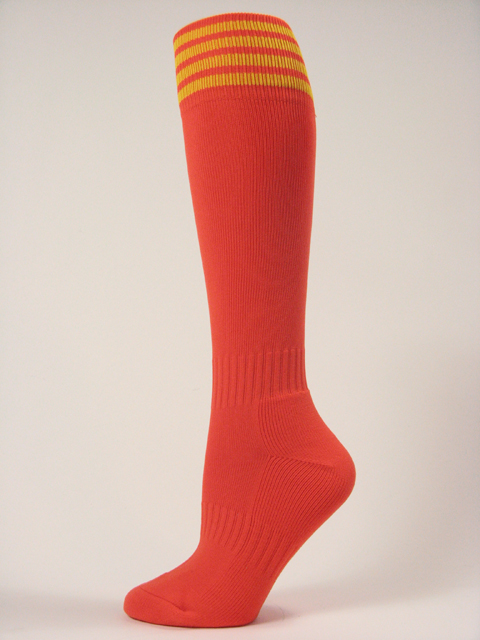 Dark Orange with yellow stripe youth football/athletic knee high socks