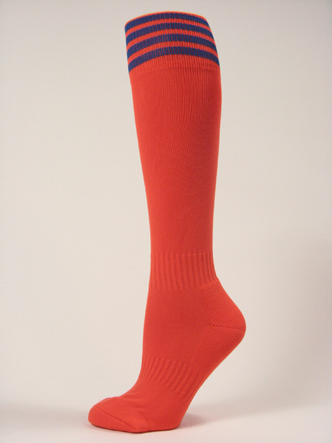 Dark Orange youth football/sports knee high socks with blue stripes