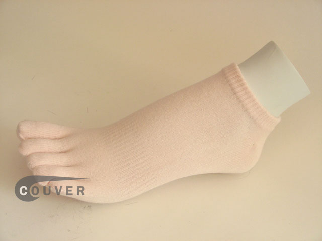 Pale Pink no show 5Finger Toe Sock Wholesale from Couver, 6PAIRS