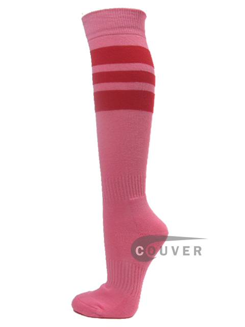 Pink COUVER sports/softball socks with 3 red stripes 3PAIRs
