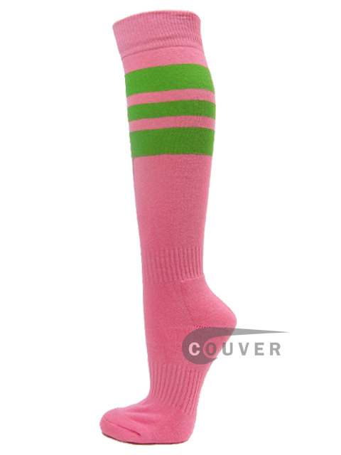 Pink COUVER Sports/Softball socks with 3 lime green stripes 3PAIRs