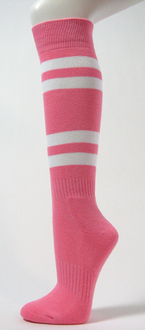 Pink with White Stripe Couver Sport Knee High Softball Sock 3PRs
