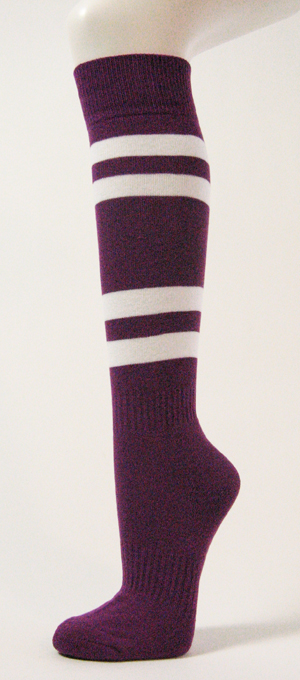Purple with White Stripes Couver Sports Knee Softball Socks 3PRs