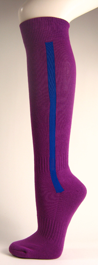 Purple baseball softball socks with blue stripe